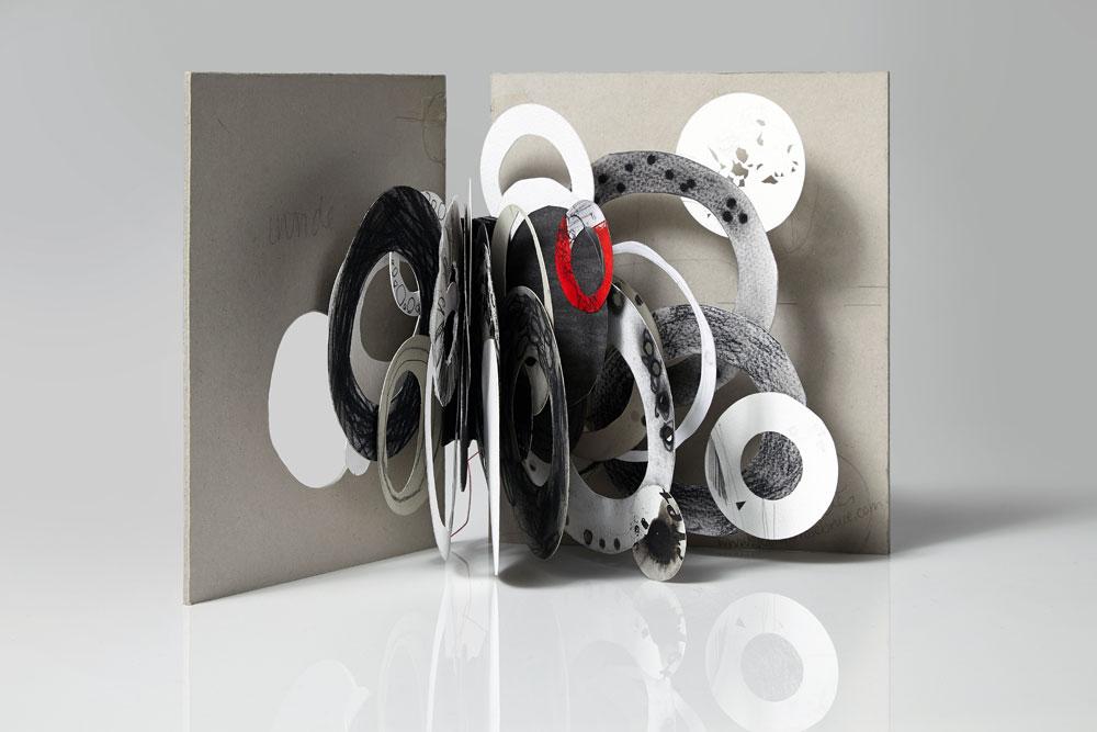Jennifer Bruce, Dark Circles (2014) - Mixed media, unique, 22 x 30 cm open, £145