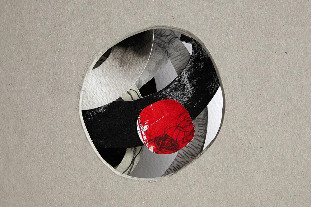 Jennifer Bruce, Dark Circles, detail (2014), Mixed media, unique, 22 x 30 cm open, £145