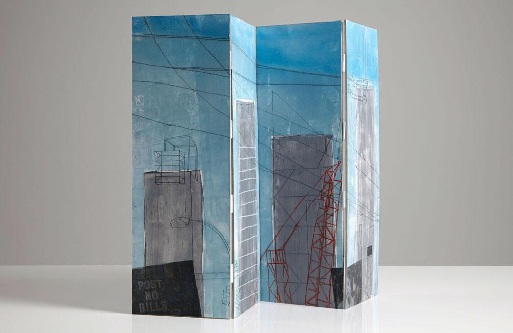 Lynda Wilson, Skyscrapers and Sidewalks (2015) - Mixed media, unique, 45 x 68 cm open, Skyscraper view, £350
