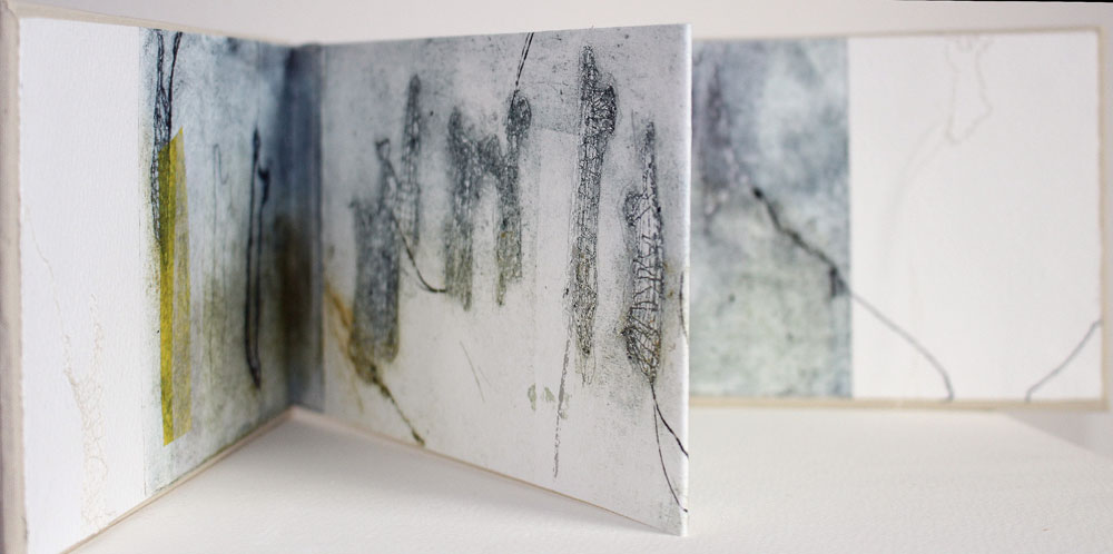 Liza Green, Likelihood of Ghosts - Hard cover concertina book of original prints, stitch, 11 x 19 cm, £245