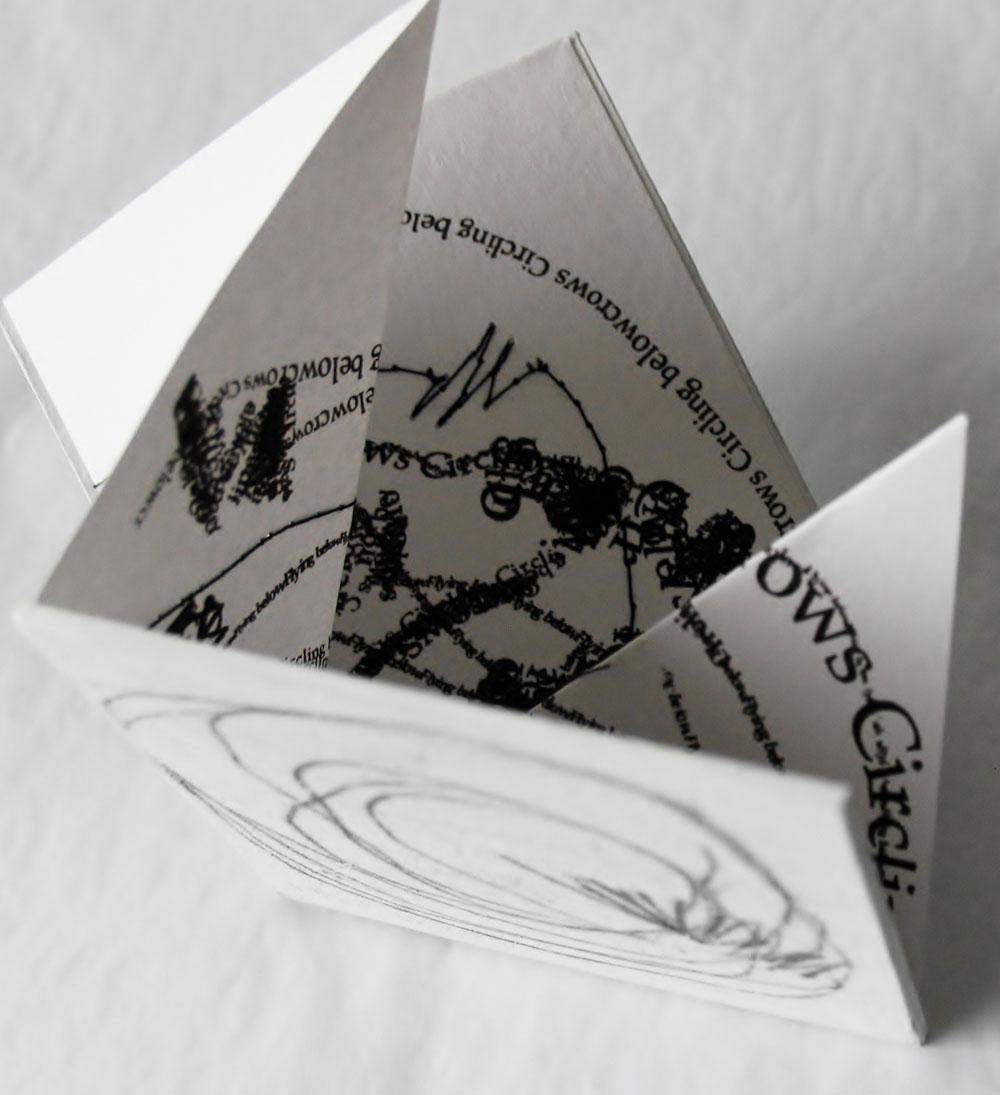 Liza Green, Crows Circling - Hardcover origami fold book, digital print, stitch, 7 x 7 cm, £15