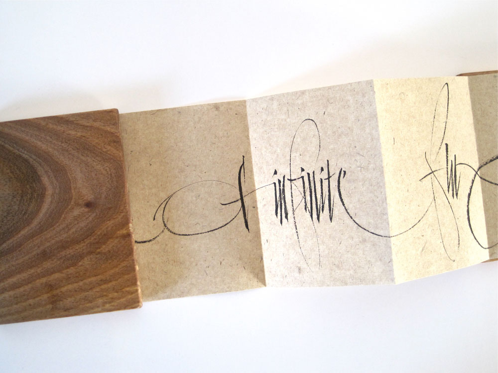 Susie Leiper, Drift (2011), Concertina: ink on Chinese paper, wood covers, 10 x 7.5 cm, £95