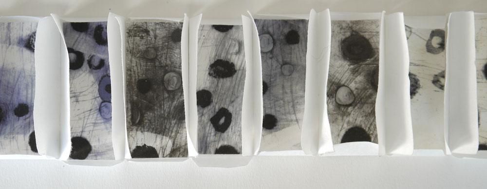 Susie Wilson, Division (2014) - Mixed media, unique, 7 x 40 cm open, £120